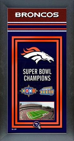 Denver Broncos Framed Championship Banner Framed Memorabilia