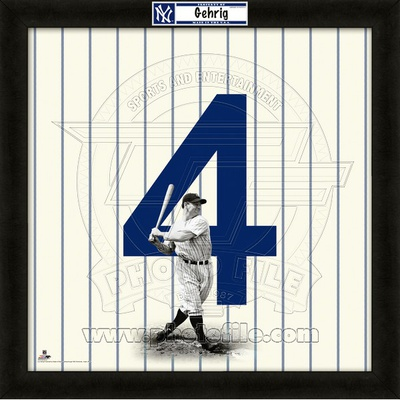 Lou Gehrig, Yankees representation of the player's jersey Framed Memorabilia