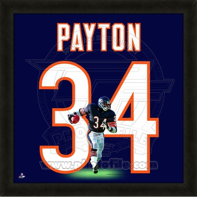 NFL Walter Payton, Bears photographic representation of the player's jersey Framed Memorabilia