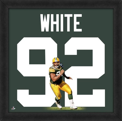 Reggie White, Packers photographic representation of the player's jersey Framed Memorabilia