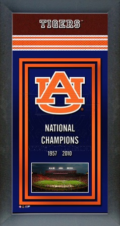Auburn University Tigers Framed Championship Banner - Tostitos Bowl Framed Memorabilia
