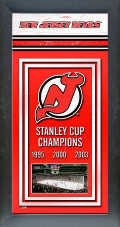 New Jersey Devils Framed Championship Banner Framed Memorabilia