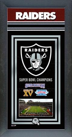 Oakland Raiders Framed Championship Banner Framed Memorabilia