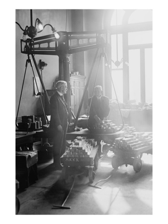 Two Suited Men Weigh Bars of Gold on Scales at the Us Mint Prints