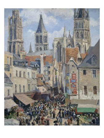 Rue De L'Epicerie, the Effect of Sunlight Prints by Camille Pissarro