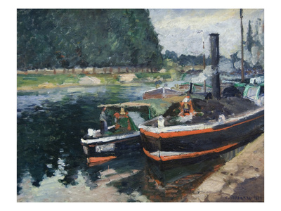 Barges at Pontoise Stampa di Camille Pissarro
