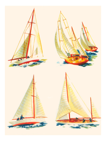 Four Sailboat Scenes Posters