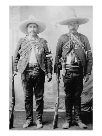 Pancho Villa's Men Urbino and Iluarte Stand at Attention with Rifles, Bandoliers and Pistols Prints