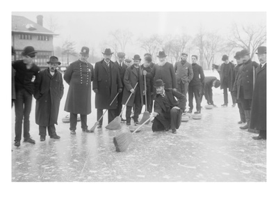 Curling in Central Park with Men Having Brooms at the Ready over the Ice. Posters