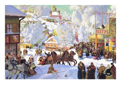 Maslanitsa; Shrovetide Poster by Boris Kustodiyev
