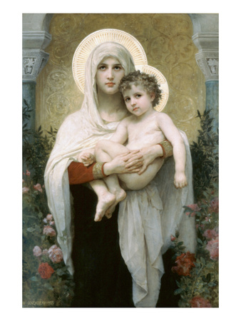 Madonna of the Roses Print by William Adolphe Bouguereau