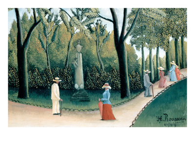 Luxembourg Gardens - Monument to Chopin Print by Henri Rousseau