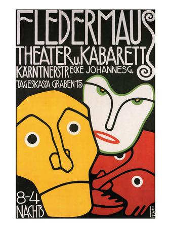 Fledermaus Theatre Production Art by Alphonse Mucha