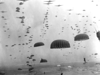 WWII Parachutes over Holland Photographic Print