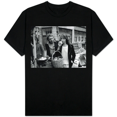 Jane Birkin and Serge Gainsbourg in London Shopping in Berwick Street Market T-shirts