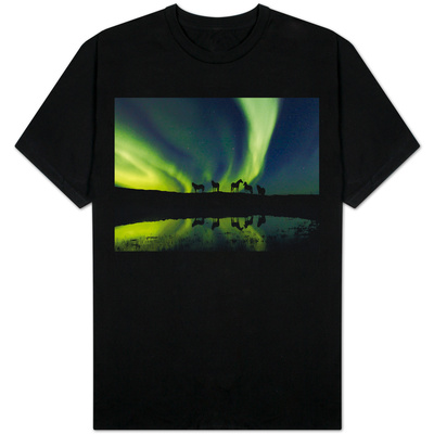 Horses under the Aurora Borealis T-shirts
