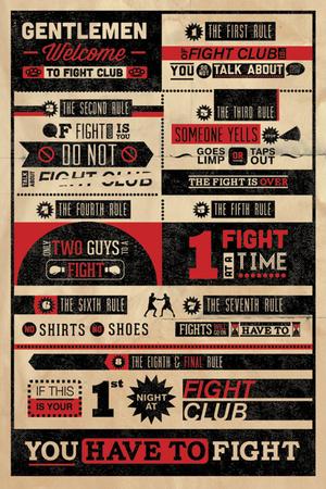 Clube de luta, regras infográficas, em inglês Pôster