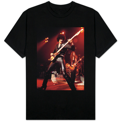 Phil Lynott Singer of Thin Lizzy Singing on Stage Playing Guitar Shirts