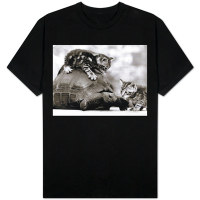 Two Young Kittens Playing with a Slow Moving Giant Tortoise, 1983 T-Shirt