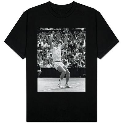 German Wonder Boy Boris Becker Raises Arms in Triumph After Winning the Wimbledon Crown Shirt