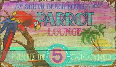 Parrot Lounge Vintage Cartel de madera