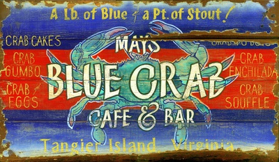 Vintage Blue Crab Wood Sign