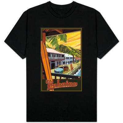Old Lahaina Fishing Town with Surfer, Maui, Hawaii Shirt