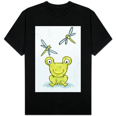 Polka Dot Green Frog with Dragonflies T-Shirt