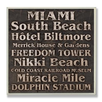 Miami Landmarks Typography Wood Sign