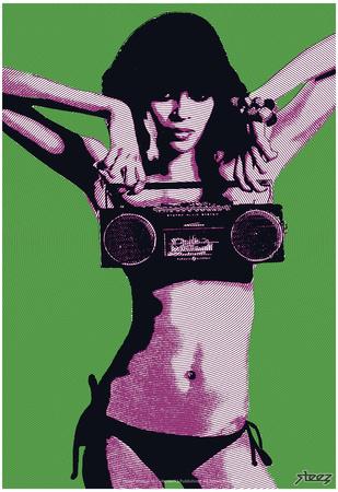 Steez Bikini Boombox - Green Prints