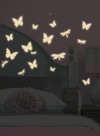Butterfly & Dragonfly Glow in the Dark Wall Decals Wall Decal