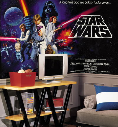 Star Wars Classic Chair Rail Prepasted Mural Luke Skywalker, Darth Vader, Princess Leia, Han Solo, Obi-Wan Kenobi