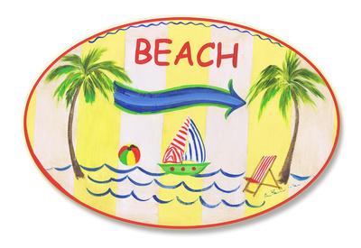Beach w/Arrow Oval Wood Sign