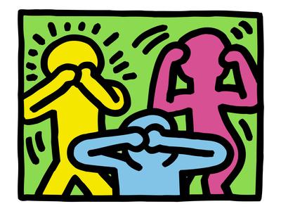 Pop Shop (See No Evil, Hear No Evil, Speak No Evil) Giclée-tryk af Keith Haring