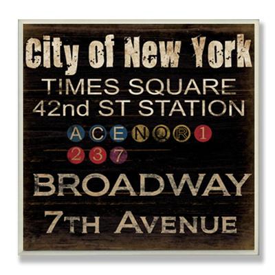 New York Train Landmarks Typography Wood Sign