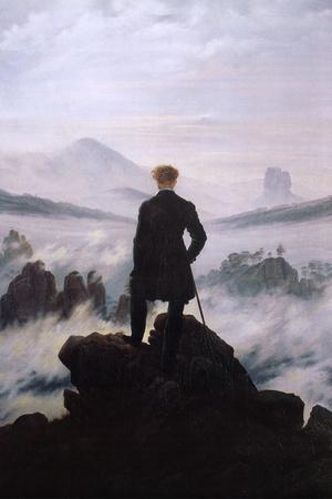 Der Wanderer über dem Nebelmeer Poster von Caspar David Friedrich