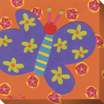 Purple Butterfly Flowers Stretched Canvas Print