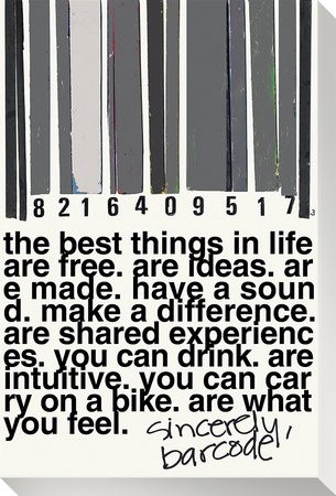 Barcode B W Stretched Canvas Print