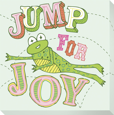 Frog - Jump For Joy Stretched Canvas Print by Jen Skelley