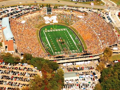 University of Missouri - Aerial of Memorial Stadium and Block M Photo by Sarah Becking