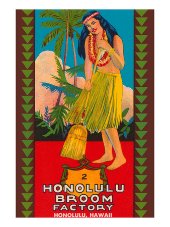 Honolulu Broom Factory Broom Label Art