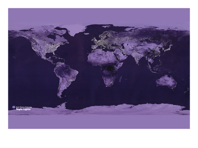 Satellite View of the World Showing Electric Lights and Usage Prints by  Goddard Space Center