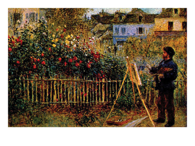 Monet Painting in His Garden in Argenteuil Posters by Claude Monet