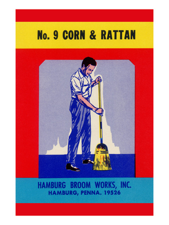 No. 9 Corn and Rattan Broom Label Posters