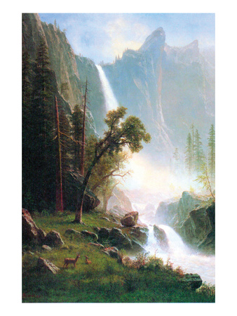 Artwork of Yosemite Falls waterfall by Albert Bierstadt