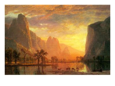 Valley in Yosemite Prints by Albert Bierstadt