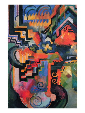 Colored Composition (Homage À Sebastian Johann Bach) Posters by Auguste Macke