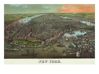 Birds-Eye View of Manhattan, New York Prints