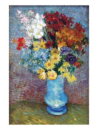 Flowers in a Blue Vase by Van Gogh Art by Vincent van Gogh