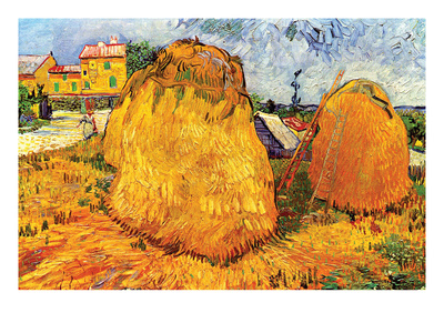 Haystacks in Provence Print by Vincent van Gogh
